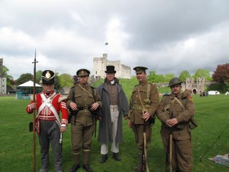 Military reenactors in front of the iconic Keep at Cardiff Castle
